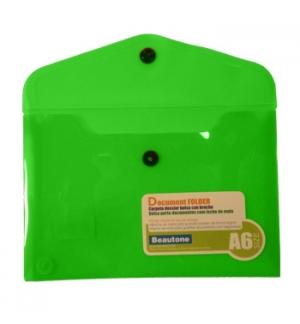 Bolsa Porta Documentos A6 com 1 Botao Transparente Verde