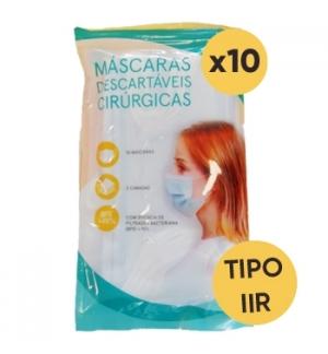 Máscara Descartável 3 Camadas Cirúrgica Tipo IIR 10un