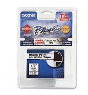 Fita para Gravacao P-Touch 12mm Branco/Preto Super Adesiva