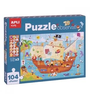 Jogo Educativo Puzzle Apli Barco Pirata 104 Peças