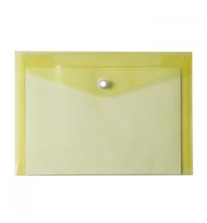 Bolsa Porta Documentos A5 com 1 Botao Transparente Amarelo
