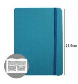 Bloco Notas Pautado 215x145cm Semi Pele Azul Turquesa 1