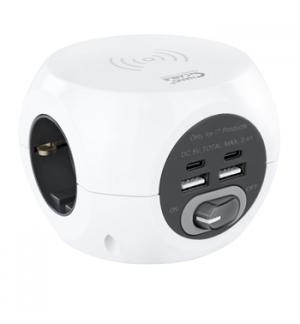 Extensão 3 Tomadas com 4 USB e Carregamento s/Fios