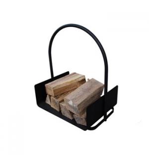Cesto de lenha em metal fundido em negro 42x30x46cm