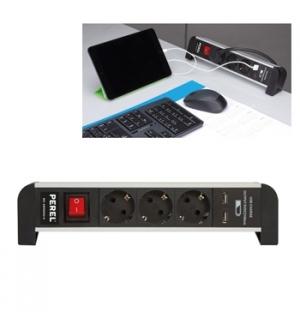 Bloco de secretaria c/ 3 tomadas Schuko e 2 portas USB