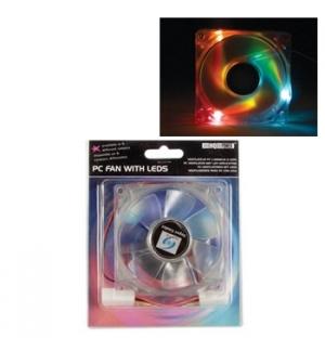 Ventoinha de dissipacao para pc com 3 LEDs RGB 80 x 80 x 25m