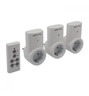 Conjunto de 3 tomadas wireless c/comando remoto