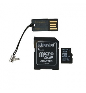 Cartao Memoria 16Gb Kingston Micro SDHC c/ 2 adaptadores