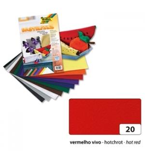 Papel de feltro 10 Folhas 20x30 Vermelho