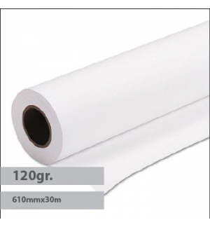 Papel Plotter Revestido 120gr 610mmx30mts Evolution -1Rolo