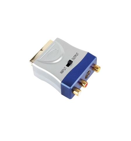 Adaptador de entrada SCART macho para 3x RCA femeas e 1 SVHS