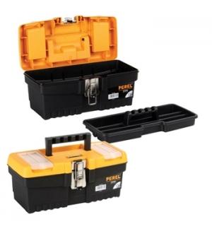 Caixa de ferramenta de 13 pol. com fechos metálicos