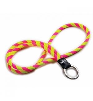 Fita de pescoco tubular c/argola leisclassic rosa/amarelo