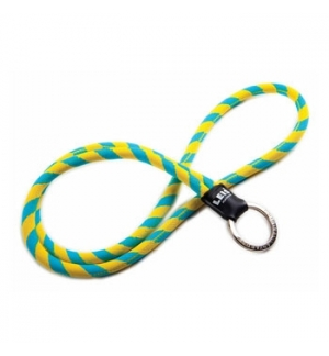Fita de pescoco tubular c/argola leisclassic azul/amarelo