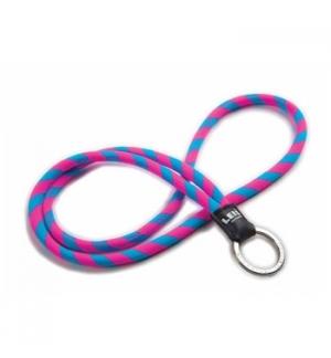 Fita de pescoco tubular c/argola leisclassic azul/rosa