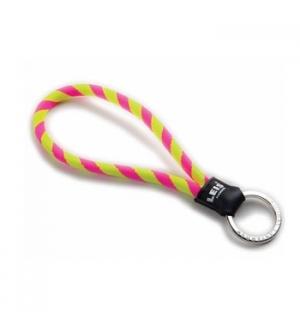 Porta chaves tubular c/argola leisshort amarelo/rosa