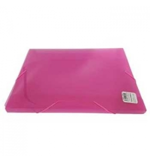 Porta Documentos Plast Transp A4 25mm C/Elast Rosa