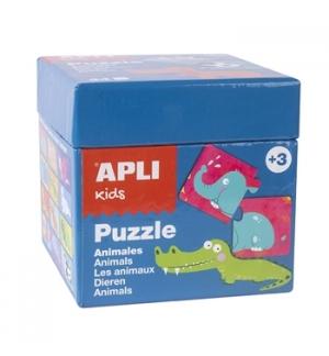 Jogo Puzzle Apli Kids Tema 12 Animais 24 Pecas