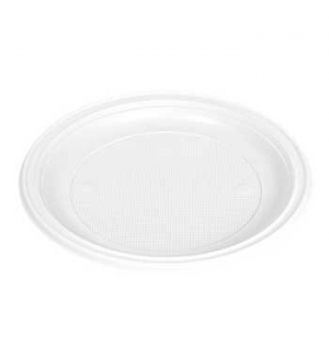 Pratos Plastico Branco Raso Refeicao 210mm (Pack50)
