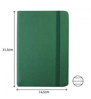 Bloco Notas Pautado 215x145cm Semi Pele Verde 116 Folha