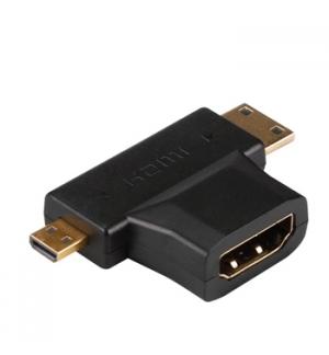 Adaptador HDMI A femea/HDMI tipo C macho e micro HDMI tipo D