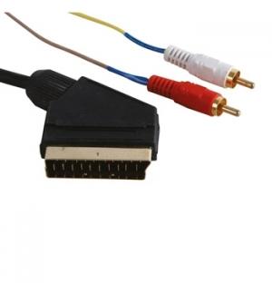 Cabo Audio/Video SCART Macho para 2x RCA Macho 5m