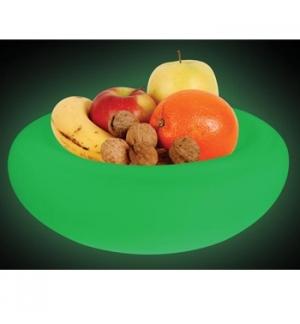 Taca p/fruta LED RGB, 7 cores, 30 LEDs , bat. recarregaveis