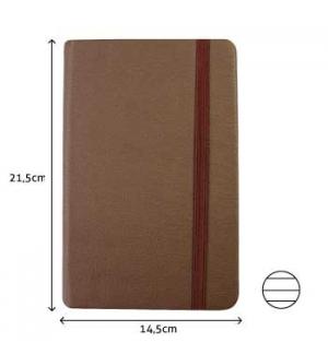 Bloco Notas Pautado 21,5x14,5cm Semi Pele Castanho 116 Fo