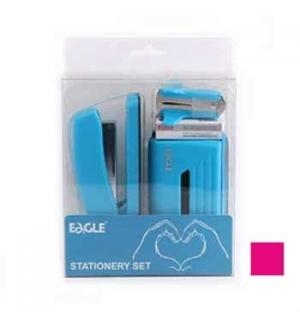 Gift Pack Agrafador+Furador Eagle Neon Color Rosa