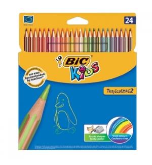 Lapis Cor 18cm Bic Kids Tropicolors 2 Cx Cartao 24un.
