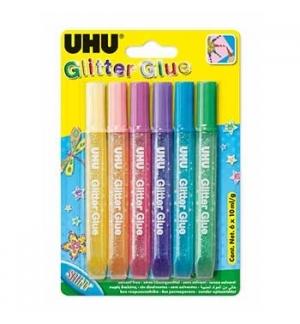 Marcadores Glitter Young Creativ Cores Claras 6 x 10ml