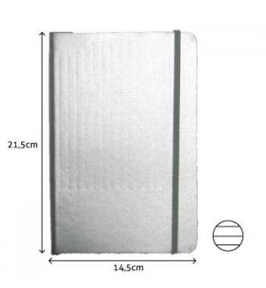 Bloco Notas Pautado 21,5x14,5cm Semi Pele Cinza 116 Folhas