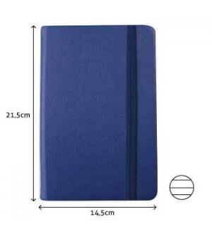 Bloco Notas Pautado 21,5x14,5cm Semi Pele Azul 116 Flh