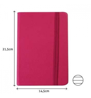 Bloco Notas Pautado 21,5x14,5cm Semi Pele Rosa 116 Folhas