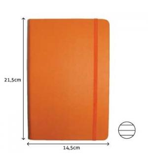 Bloco Notas Pautado 21,5x14,5cm Semi Pele Laranja 116 Folha