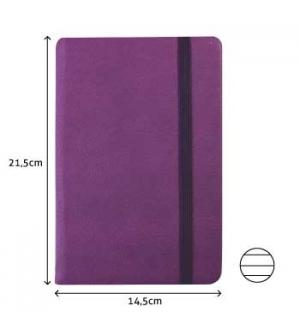 Bloco Notas Pautado 21,5x14,5cm Semi Pele Roxo 116 Folhas