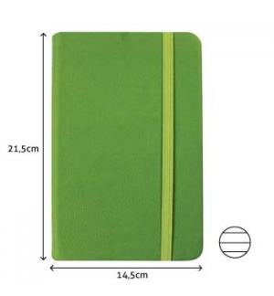 Bloco Notas Pautado 21,5x14,5cm Semi Pele Verde Esmeralda