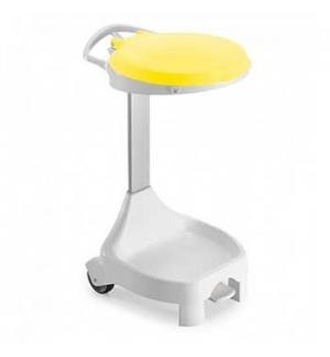 Contentor c/Pedal 120L e Rodas Smile W-70 Branco/Amarelo
