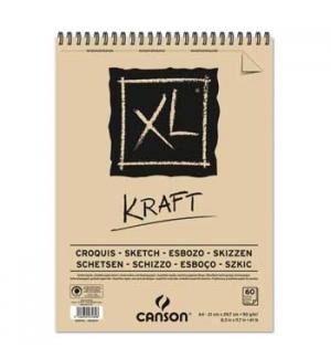Bloco Espiralado Canson XL Kraft A4 90gr 60F