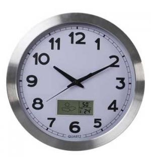 Relógio Parede Analógico Alumínio Ø35cm + LCD