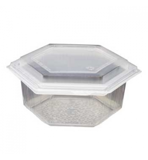 Embalagem Alimentar 500ml PP Plástico Hexagonal  60un