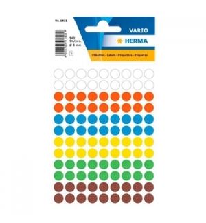 Etiquetas Redondas 08mm Sortido Herma1831 540un