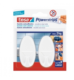 Gancho Oval Tesa Powerstrips + 4 Tiras Large Branco 2 unid