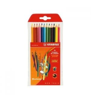 Lapis Cor 18cm Stabilo Color Carteira Plastica 12un