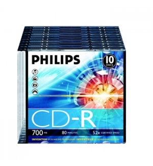 CD-R Philips 700Mb 52x 80min Slim Pack 10