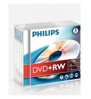DVD+RW Philips 4.7GB 4X Jewell Case 5