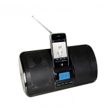 Altifalantes c/ base para iPhone/ iPod c/radio FM e relogio
