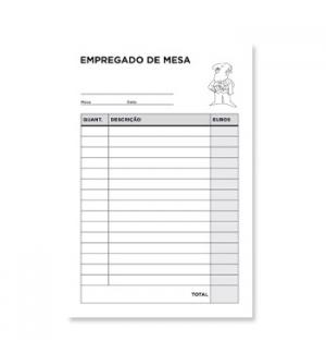 Blocos Impressos-Empregado de Mesa- 105X155 c/ Duplicado